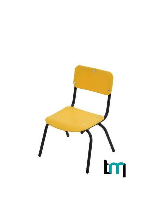 Silla infantil metálica con asiento y respaldo de polipropileno