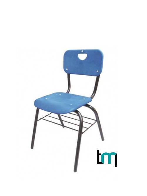 silla metálica con asiento y respaldo de polipropileno